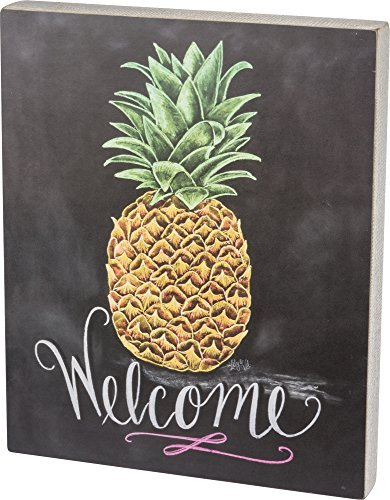 Primitives by Kathy Chalk Sign, Welcome (Pineapple Signs Welcome)