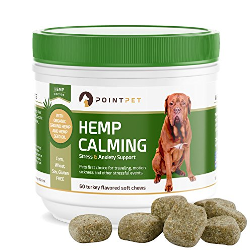 POINTPET Stress and Anxiety Relief for Dogs, Natural Calming Treats with Organic Hemp Oil, Helps with Separation, Travel and Motion Sickness, Fireworks, Dog Anxiety Supplement, 60 Soft Chews by POINTPET