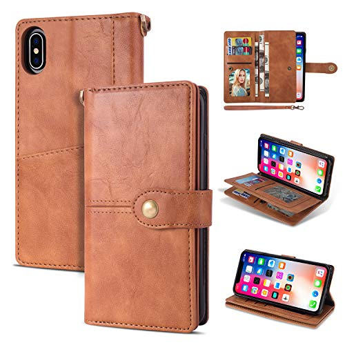 Black Friday Deals Cyber Monday Deals-iPhone Xs Max Case iPhone Xs Max Wallet Case,Flip Leather Credit Card Holder Cash Pockets Wristlet Protective Case for iPhone Xs Max (Brown, iPhone Xs Max)]()