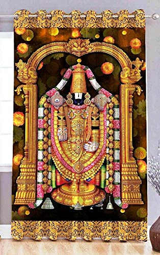 Fresh From Loom 3D Digital Printed Eyelet Shri Balaji Temple 7 ft Polyester Curtain Screen Pardas for Door (Multicolour), 1pc