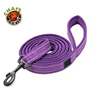 """Chai's Choice Best Padded 3M Reflective Outdoor Adventure Dog Leash. Perfect Match Front Range and Service Dog Harness. (78"""" Large, Purple)"""