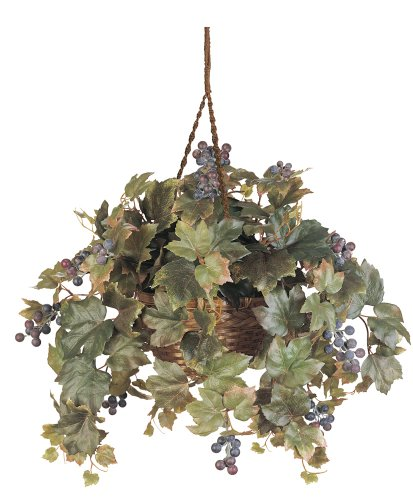 Nearly Natural 6026 Grape Leaf Hanging Basket Decorative Silk Plant Green