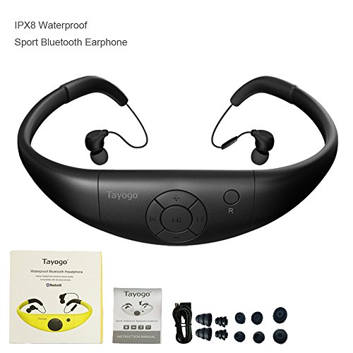 Tayogo Active Sport Bluetooth 2-in-1 Waterproof Headset and Microphone for Hands-free Call Answering (Black)
