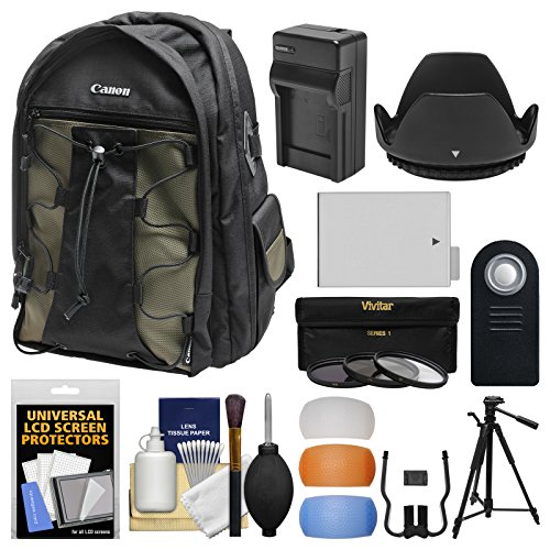 Canon 200EG Deluxe Digital SLR Camera Backpack Case with LP-E8 Battery + Tripod + Filters + Kit for Rebel T3i, T4i, T5i & 18-55mm IS Lens by Canon