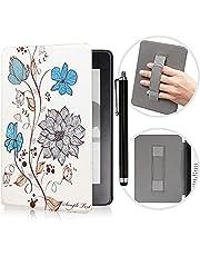Capa para o novo Kindle 10ª Geração 2019 lançado com alça de mão e caneta sensível ao toque, capa ultrafina de couro PU com função automática despertar/hibernar, apenas adequada para o modelo J9G29R, flores exóticas
