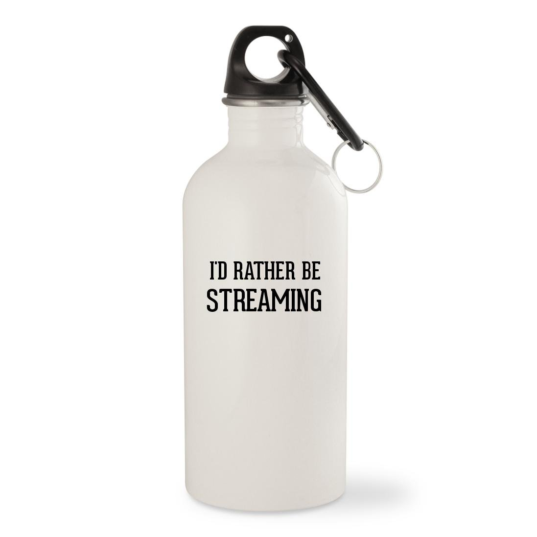 I'd Rather Be STREAMING - White 20oz Stainless Steel Water Bottle with Carabiner