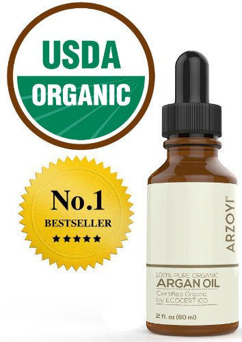 Argan Oil for Hair, Face, Skin, Nails & Body by Arzoyi. Organic, Moroccan, 100 Pure, USDA, Cold Pressed Argan Oil for Treatment, Growth, & Hair Care. Pressed Hair Care