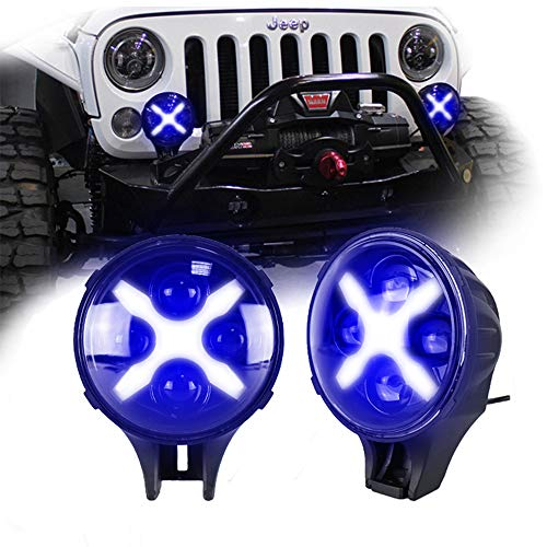XFUNY 6 Inch Headlights 60W X-Shaped Car Automotive Led Light Front Bumper Daytime Running Light Off-Road Light for Jeep Wrangler SUV Armored Car, 1 Pair (Blue Light)