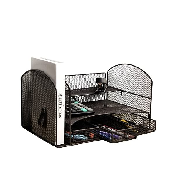 VANRA Metal Mesh Desktop File Organizer File Sorter Desk File Tray Organize Office School Supply Holder Stuff Storage Organizer with 3 Little Drawers