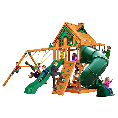- Gorilla Playsets Mountaineer Treehouse Swing Set with Amber Posts