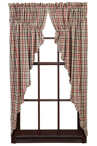Victory Swag Valance - Prairie Scalloped Lined Curtain in Red - Set of 2