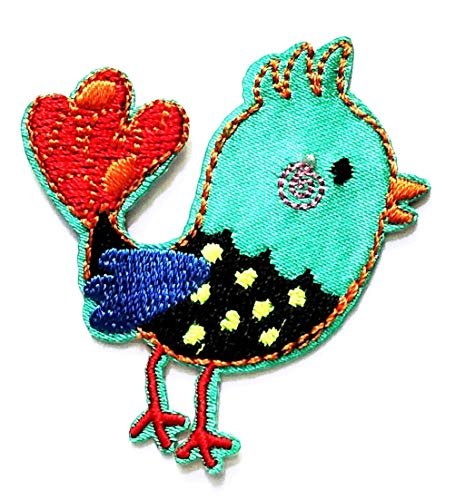 Nipitshop Patches Baby Chicken Farm Animal Blue Bird Cartoon Kid Baby Girl Jacket T-Shirt Patch Sew Iron on Embroidered Sign Badge Costume Clothing