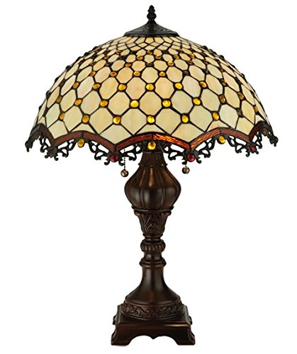 "Used, Tiffany Style Stained Glass Table Lamp ""Cabachon"" w/ for sale  Delivered anywhere in Canada"