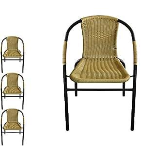 Juego de 4Silla apilable, silla de jardín ratán sintético con Balcón. Silla apilable Negro/Beige