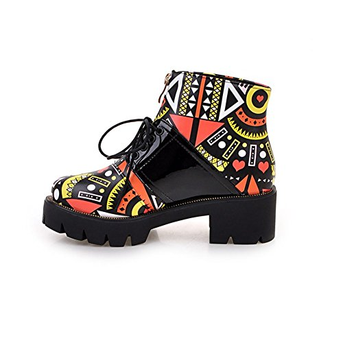 Decostain Round Toe Lace-up Colorful bootie Orange zXQgPGFr8