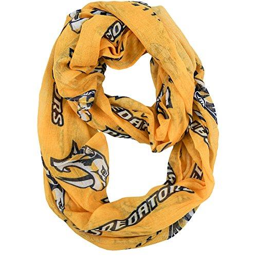 NHL Nashville Predators Sheer Infinity Scarf, One Size, Yellow