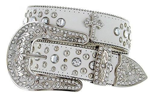 Hagora Women's Clear Zirconia Cross Conchos Real Leather 1.5