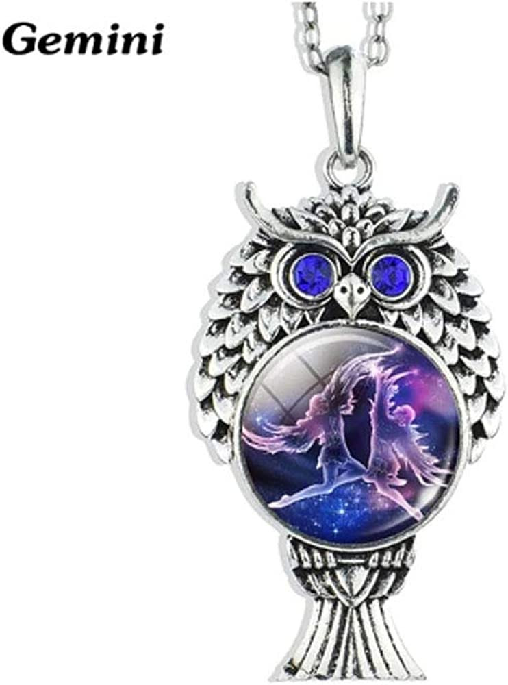 PG Products 12 Constellation Necklace Owl Pendant Cancer Leo Virgo Libra Scorpio Capricorn Zodiac Necklace Antique Silver Owl Pendant Necklace Gifts