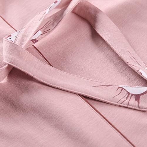 pigiama pezzi cardigan Pigiama tre sexy verde in cotone a primavera a lunghe e servizio maniche in domicilio DEED maniche lunghe a autunno dXqwRRH6