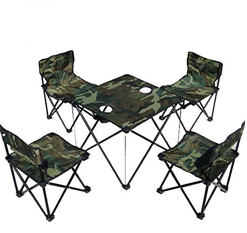 portable folding chair Outdoor Folding Table Chair Set,5 Pcs Camouflage Portable Collapsible Table And Chairs Leisure Beach Chair Lounge Chair Barbecue Fishing Chair Travel Rest Furniture,for Hiking W (Chair Camo Papasan)