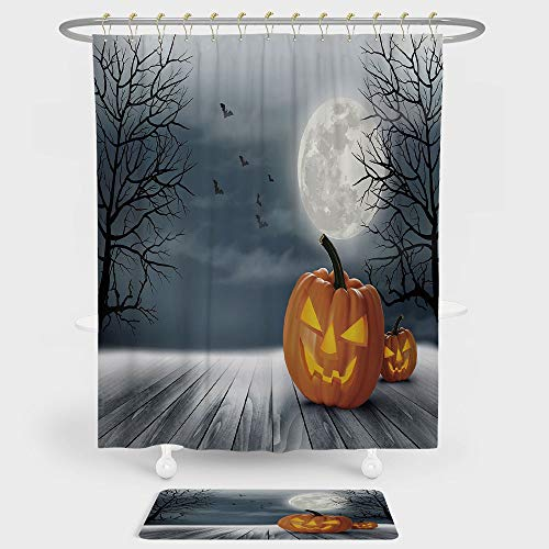 Halloween Shower Curtain And Floor Mat Combination Set Cold Foggy Night Dramatic Full Moon Pumpkins on Wood Board Trees Print For decoration and daily use Grey Orange Black ()