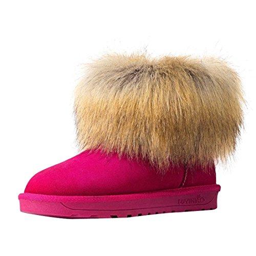 HooH Women's Nubuck Simple Snow Boots 5889 Red he9TTF8w