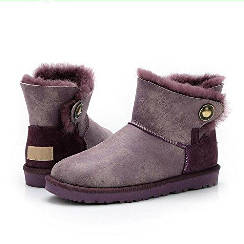 Tube de féminines Chaud Antidérapant Chaussures Coton Bottes Purple Neige Strass Bas aux Garder Femmes en imperméable Hiver au Bottes wtqx7XS
