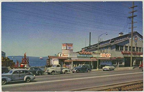 (Ivar's Acres of Clams Restaurent Pier 54 - Seattle Washington - 1950's Vintage Chrome Roadside Postcard)