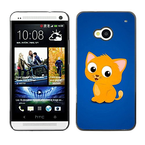Soft Silicone Rubber Case Hard Cover Protective Accessory Compatible with HTC ONE M7 2013 - Cute Cat