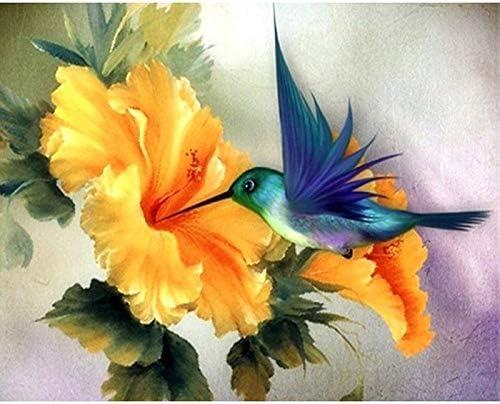 JXWR Recogida de pájaros Miel pájaro Azul Animal Pintura Digital Digital Moderno Arte de la Pared Pintura de la Lona decoración del hogar DIY40x50 Sin Marco