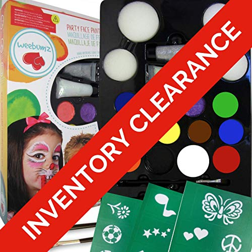 Weebumz Face Painting Kit with Stencils for Kids - Paint 80+ Faces - Quality Body Paint with 4 Sponges, 2 Glitter Gels, 2 Brushes. Safe Non-Toxic Water Based+FREE Online Face Paints Guides & Tutorials by Weebumz