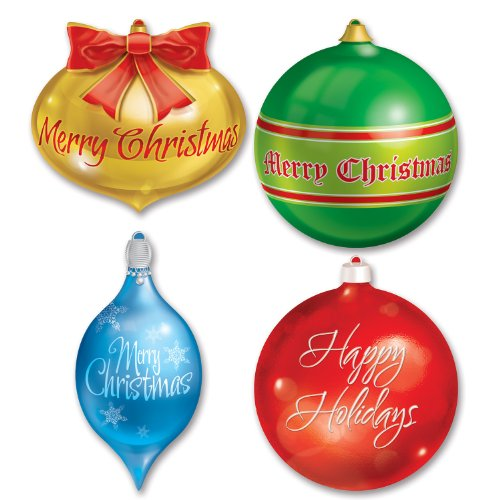 (Beistle 4-Pack Packaged Christmas Ornament Cutouts,)