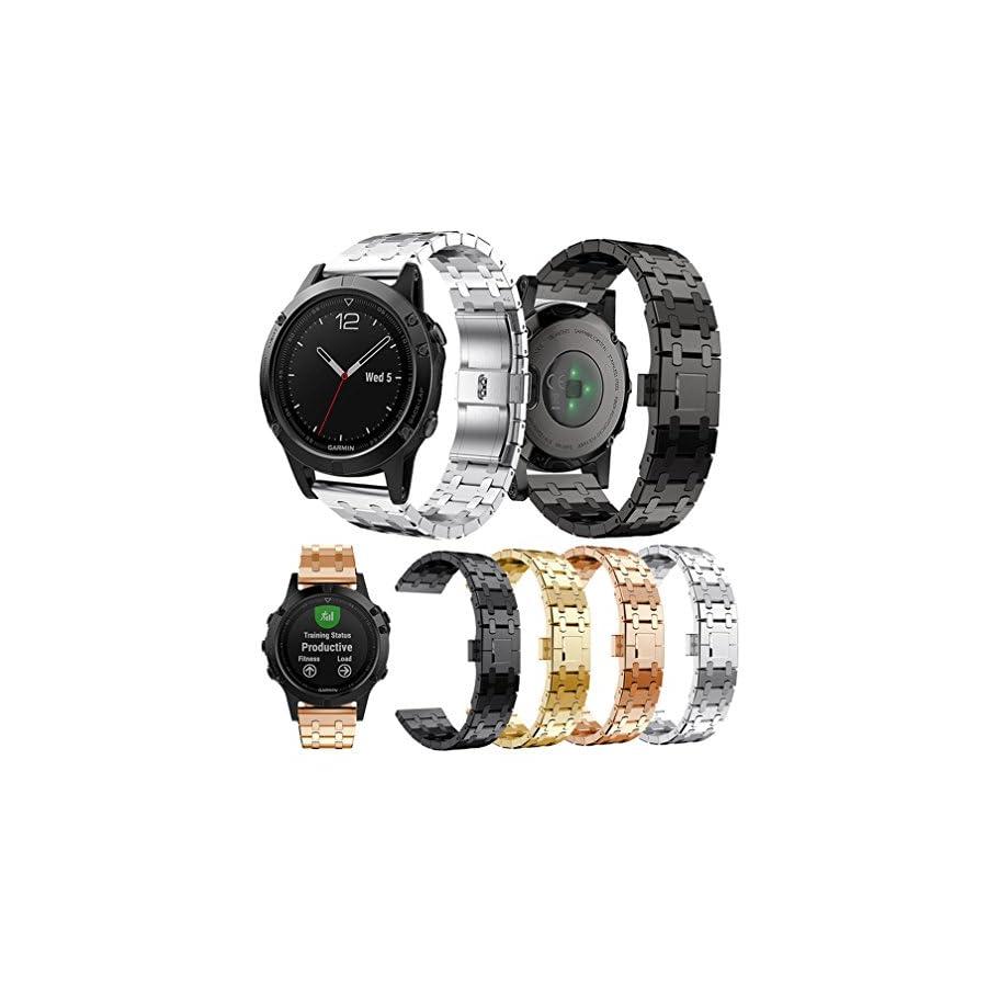 Garmin Fenix 5 Watch Band, MoreToys Stainless Steel Sports Wrist Band Replacement Accessory Straps Bracelet for Garmin Fenix 5 Smart Watch