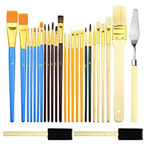 BTNOW 25 Pieces All Purpose Paint Brush Set Kid Paint Brushes in Multi Color and Assorted Sizes with 1 Painting Knife