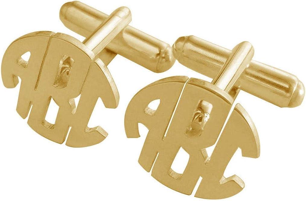 Elefezar Personalized 925 Sterling Silver Round Block Monogram Initial Cufflinks