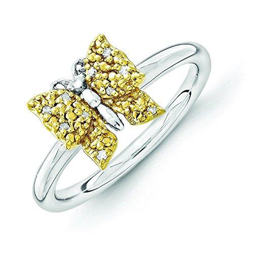 2,25 mm-Argent fin 925/1000 Yg-Plaqué or 14 carats avec diamant et accélération Expressions empilable Papillon - 10 cm