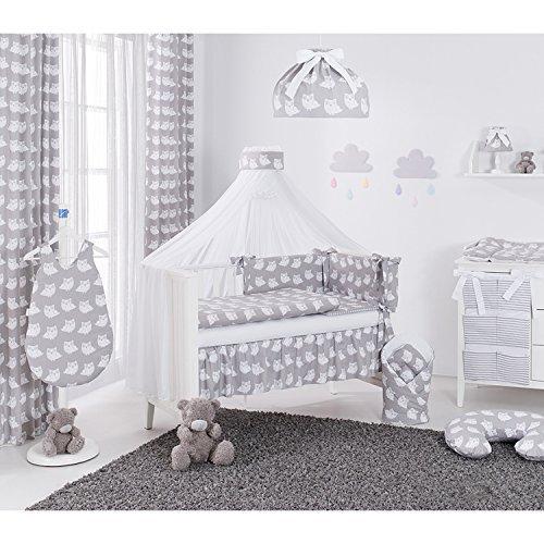Sevira Kids - Lot de 2 Rideaux en 100% coton pour chambre d'enfant - Hiboux Beige