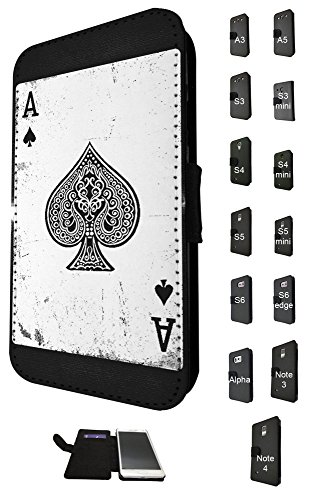 Samsung Blackjack Phone Covers (1598 - Ace Of Spades Playing Cards Casino Poker Black Jack Design Samsung Galaxy S7 G930 Fashion Trend TPU Leather Flip Case Full Case Flip Credit Card TPU Leather Purse Pouch Defender Stand Cover)