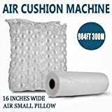 Happybuy Air Cushion Films 984Ft Length Air Pillow Bubble Bags Film 16 Inch Width PE Air Cushion Wrap Machine Film Roll Bubble Bags Film for Packing Shipping Cushioning(Film)