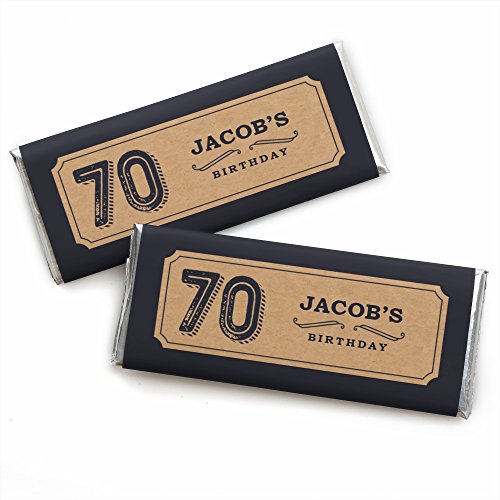 Custom 70th Milestone Birthday - Dashingly Aged to Perfection - Personalized Birthday Party Favors Candy Bar Wrappers - Set of 24