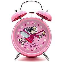 "4"" Large Children QUIET Alarm Clock for Kids - Twin Bell - Metal Frame –Non Ticking SILENT Clocks–Battery Operated - NightLight - Children/ Boys/ Girls (Pink Fairy Tales Girl)"
