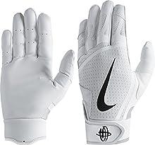 Nike T-Ball Huarache Edge Batting Gloves 2018 for Baseball (White/White/Black/Small)