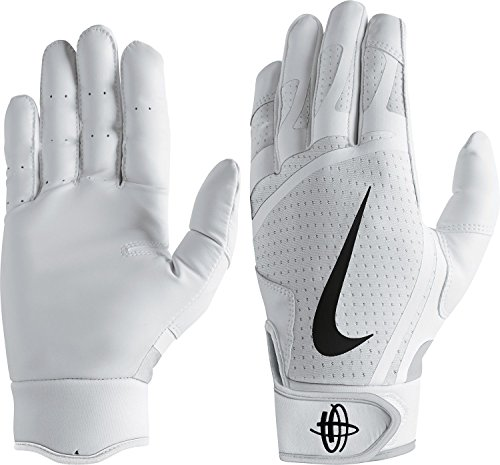 Nike Men's Huarache Edge Batting Gloves White/Black Size Medium (Best Batting Gloves On The Market)