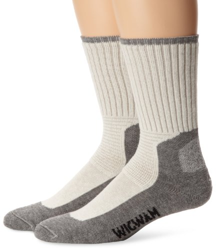 Wigwam Men's At Work DuraSole Work 2-Pack Crew Length Work Sock, White/Grey, Large