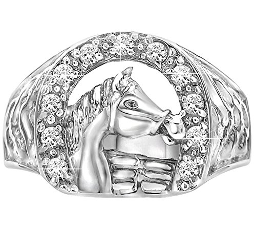 Sterling Manufacturers Sterling Silver .925 Fenced Horse Ring Featuring a Cubic Zirconia (CZ) Encrusted Horseshoe