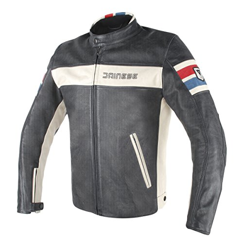 - Dainese HF D1 Perforated Leather Jacket (BLACK/ICE/RED/BLUE) 52