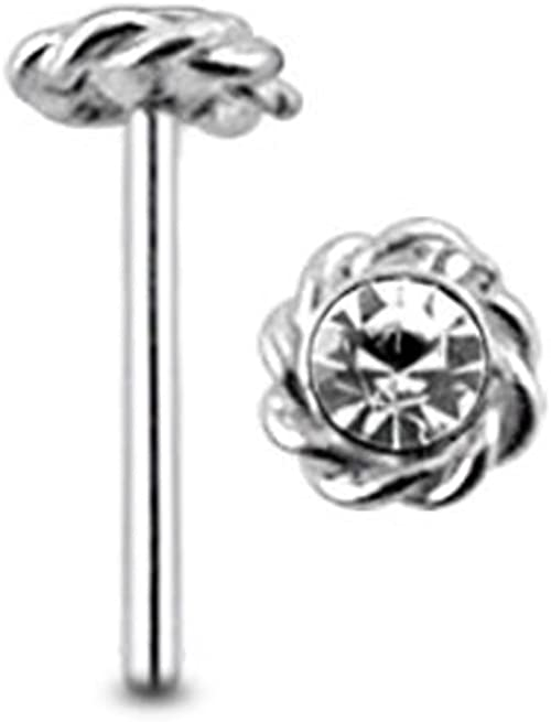 8mm Straight L Bendable Nose Stud Embossed Flower Sterling Silver 22g 0.6mm