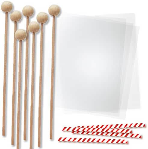 6 Inch Wood Lollipop Sticks with Clear Bags for Packaging Chocolate Molds and Cake Pops, Red Candycane Stripe Twist Ties, Rock Candy Making Kit, 144 Pieces