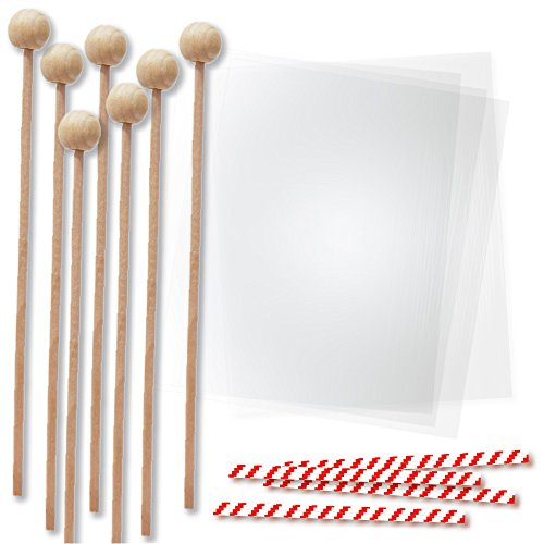 6 Inch Wood Lollipop Sticks with Clear Bags for Packaging Chocolate Molds and Cake Pops, Red Candycane Stripe Twist Ties, Rock Candy Making Kit, 144 (Homemade Halloween Treats Easy)