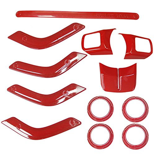 Bolaxin 12 pcs ABS Chrome Interior Trim Accent Kits Steering Wheel/Door Handle Cover Inner/Passenger Seat Handle Centrer Console Air Outlet Trim Kit Set Decoration (Red 12pcs)